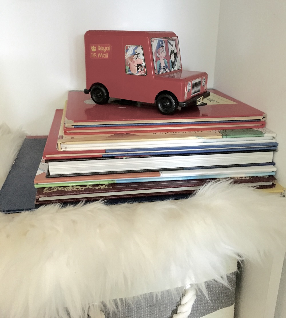Vintage truck: my husband's from when he was a baby!; Books: from my own childhood collection.