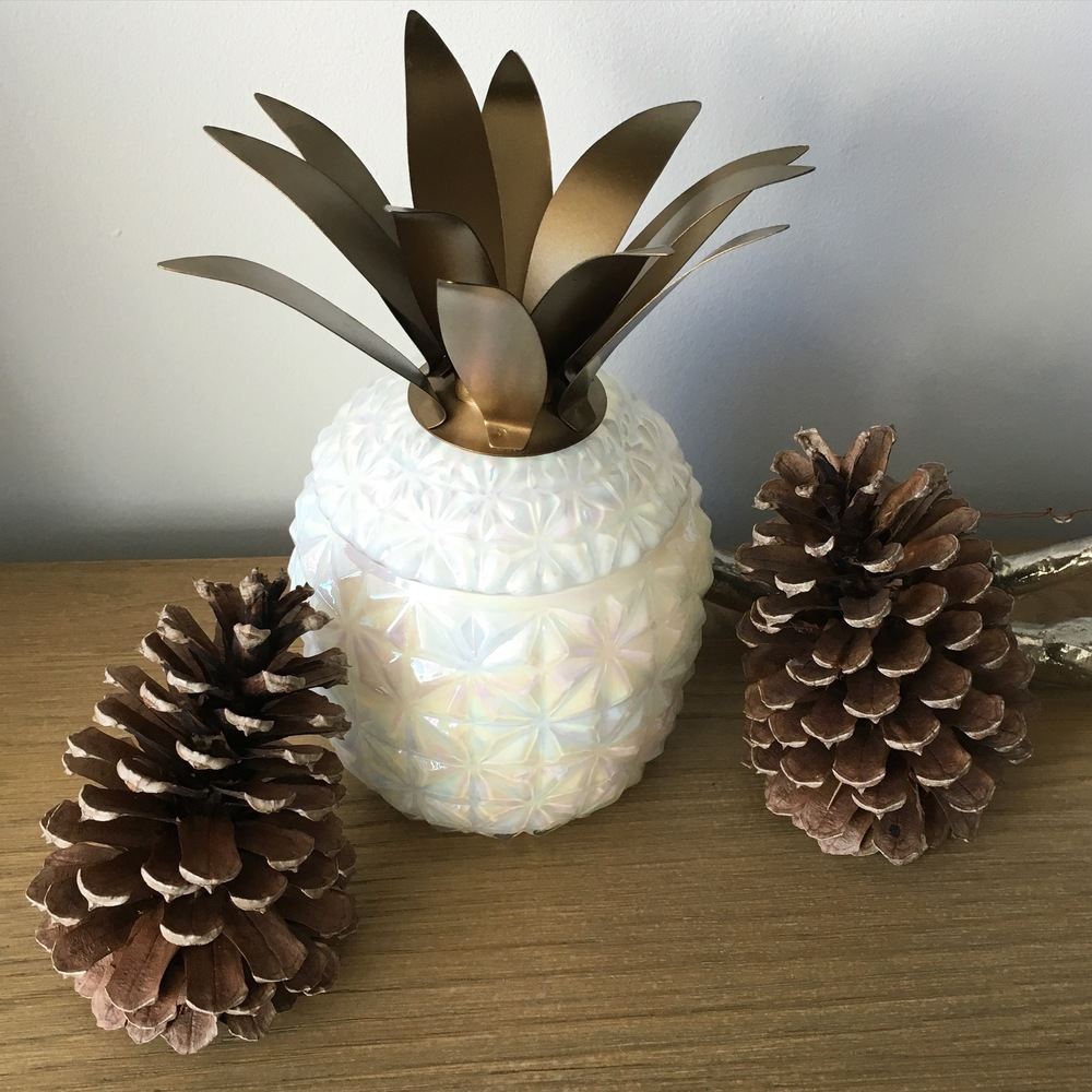 Pinecones and a holiday candle from Anthropologie