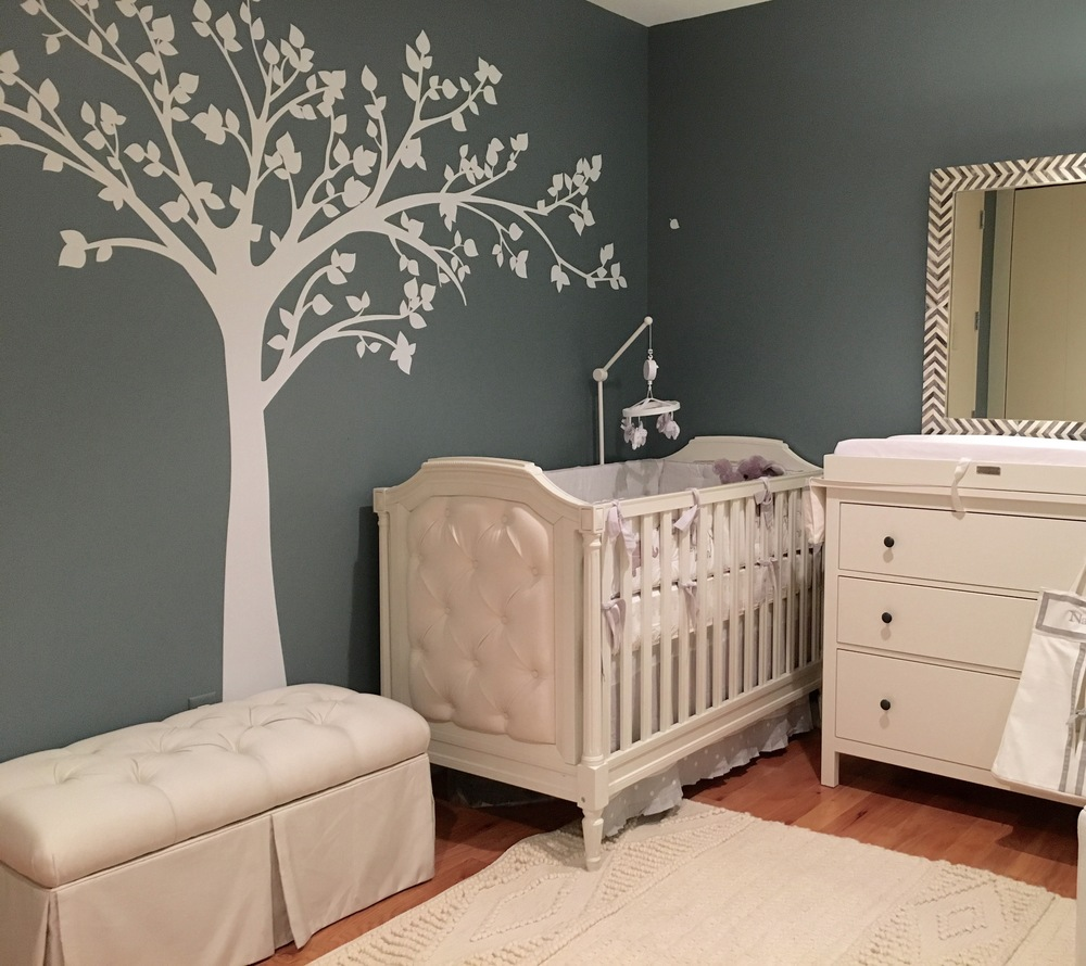 "Pottery Barn Kids ""Blythe"" crib, Pottery Barn Kids ""Taylor"" crib bedding, and Wayfair tufted storage bench"