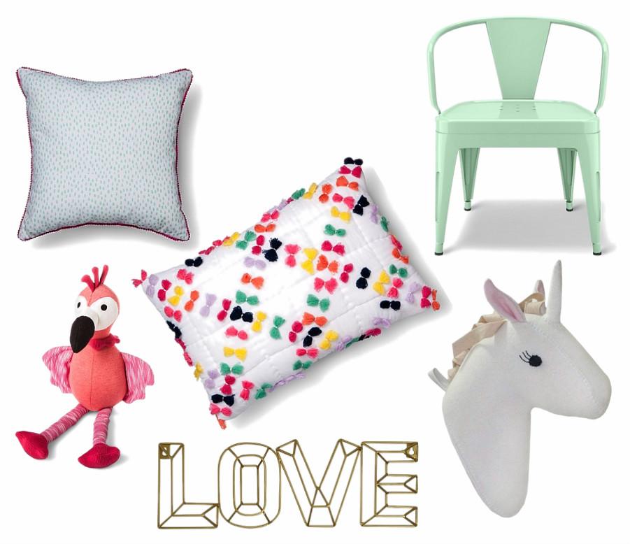 Pom Pom trim pillow ,  Tassel throw pillow ,  Industrial activity chair ,  Unicorn head wall decor , Love wall decor ,  Flamingo throw pillow