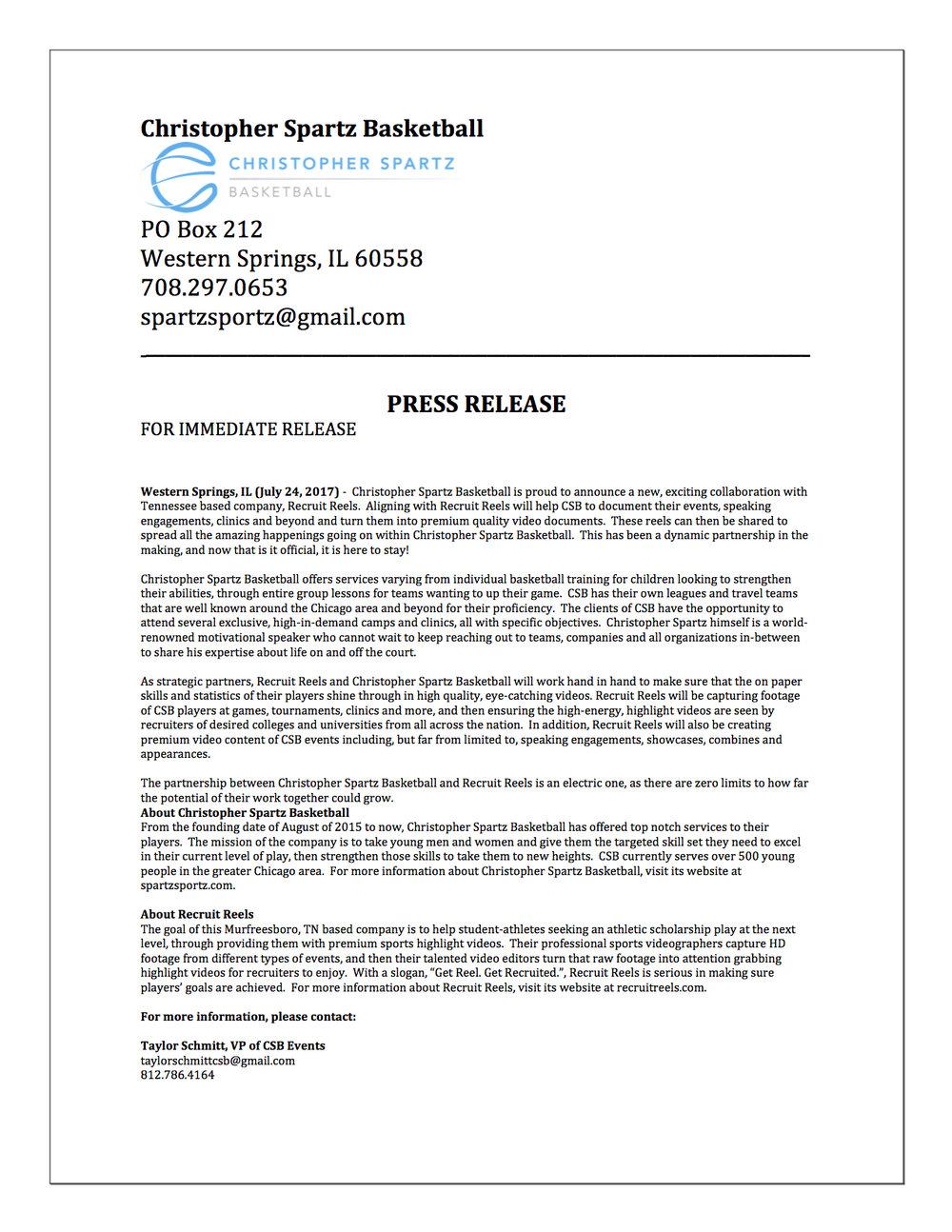 CSB & RECRUIT REELS PRESS RELEASE.jpg