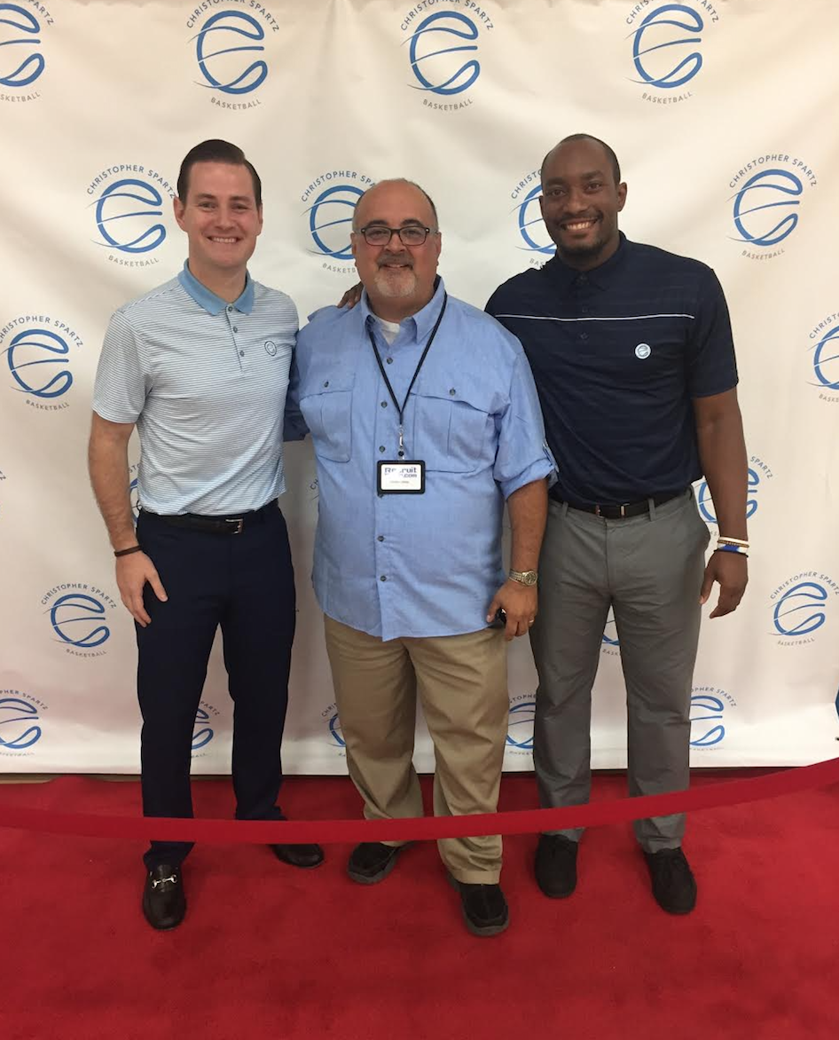 Founder of Christopher Spartz Basketball Christopher Spartz (left) seen above standing on the Red Carpet with Founder and CEO of Recruit Reels Christian Hidalgo (middle) and Lead Trainer for Christopher Spartz Basketball, Nicholas Frazier (right).