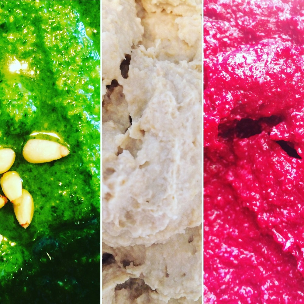 Pesto, Hummus and Beetroot. Make a batch in advance and use the pesto to cook with and the hummus and beetroot dips are perfect accompaniements with a summer lunch!