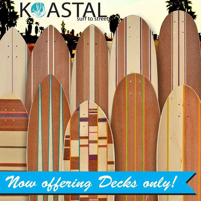 In a few days you will have the option to buy decks by themselves! Who's excited?! #koastalboards #koastal #surftostreet #surfthestreets #longboarding #longboard #surf #skateboards