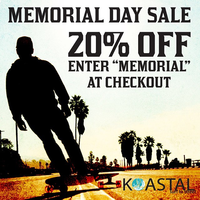 All weekend long we are having a sale on all products from koastal.co. All your favorite Koastal products are 20% off... Sale ends Monday at midnight! #skate #skateboarding #sale  #discount #memorialday