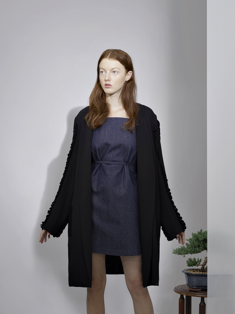 BLACK RUFFLE COAT       DENIM APRON DRESS