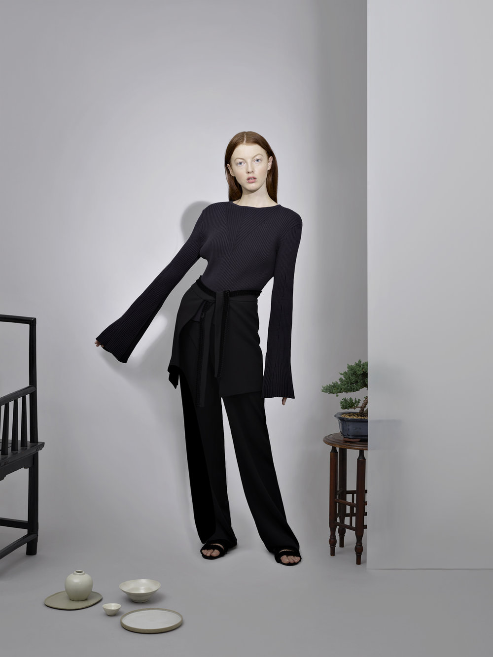 OVERSIZED KNIT       PANTS WITH VELVET DETAIL       WRAP WITH VELVET DETAIL