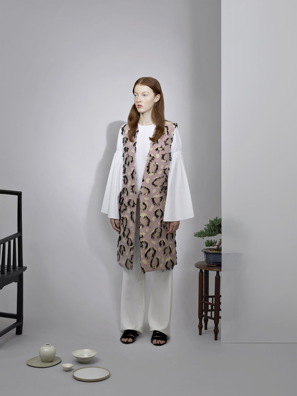 GATHERED SLEEVE BLOUSE       PANTS WITH VELVET DETAIL       JACQUARD LONG VEST
