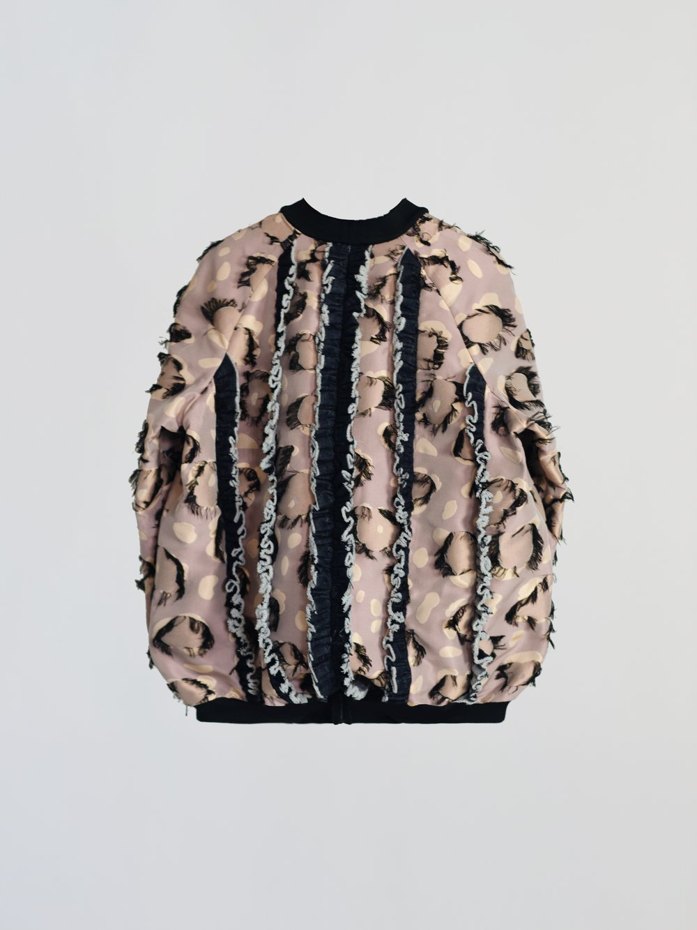 JACQUARD BOMBER JACKET WITH DENIM RUFFLE