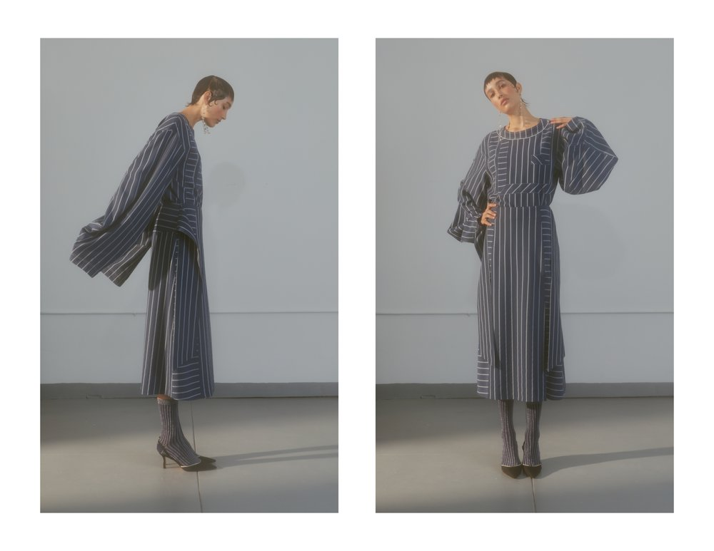 THREE PIECE SLEEVE STRIPE TOP SS181101-S 625.00 USD BLUE/WHITE XS,S,M,L WOOL/VISCOSE    COMBO STRIPE SKIRT SS181001 625.00 USD BLUE/WHITE XS,S,M,L WOOL/VISCOSE