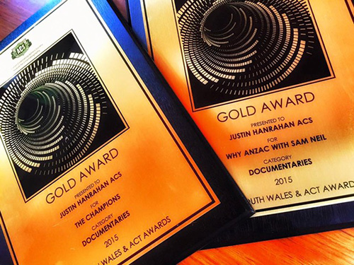 ACS Gold Award for Cinematography in Documentary awarded to Justin Hanrahan, Director of Photography of The Champions