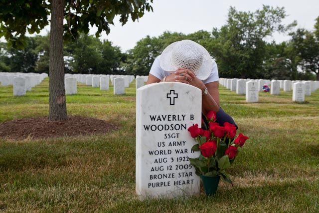 Waverly Woodson is buried at Arlington National Cemetery where American buries its heroes. Each May around Memorial Day, his widow, Joann, arranges the red roses her husband loved so much beside his grave. And then she falls to the grass and prays. Photo: Linda Hervieux