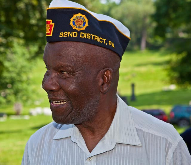 Henry Parham greets fellow veterans at Allegheny Cemetery in Pittsburgh on Memorial Day, 2011. Photo: Linda Hervieux