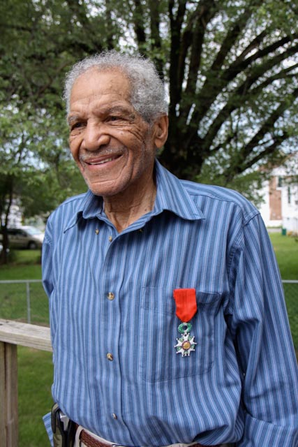 William Dabney wears the French Legion of Honor that he received at a ceremony in Paris in June 2009. The medal is France's highest honor and was given to Dabney for his service on Omaha Beach on D-Day. Photo: Linda Hervieux