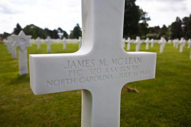 Private First Class James McClean of North Carolina died on July 16, 1944. He is buried at the American Cemetery in Normandy. Photo: Linda Hervieux