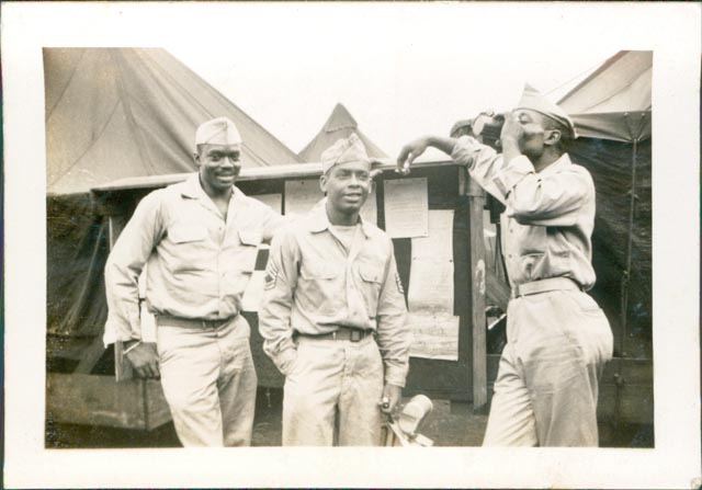 320th men posing on base, probably in Hawaii, which was the last stop for the battalion. Photo: Courtesy of the Adkins family