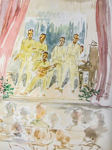 Artist Peggy Beeton captured the only known image of 320th men performing at the Village Hall in Checkendon, England, on New Year's Eve 1943. Six men gave a concert of Negro spirituals, after prayers by the battalion chaplain, Rev. Albert White. Photo: Oxfordshire Record Office