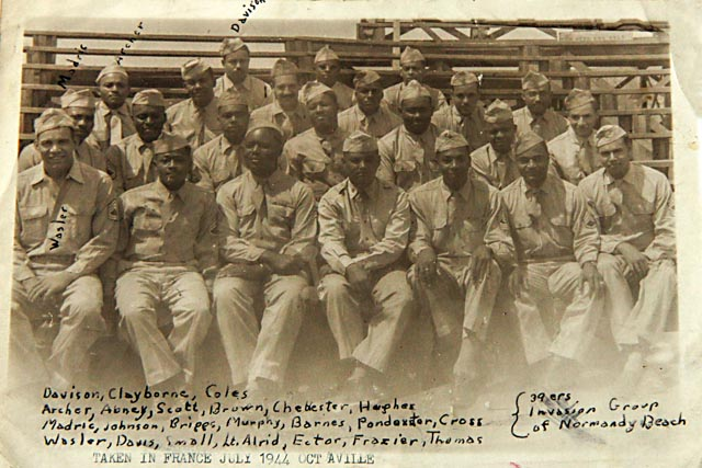 George Davison scrawled the names of his buddies from the 320th on this snapshot taken in Octeville, France in July 1944. Davison noted his place in the back row. Photo: Courtesy of Bill Davison