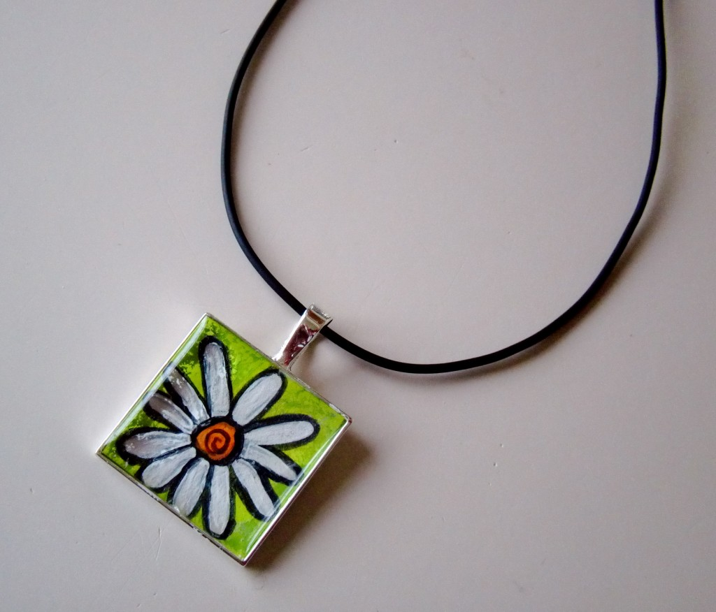 Daisy Original Acrylic Painting Necklace