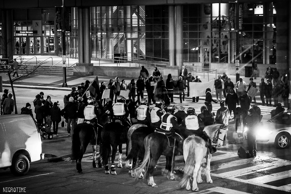 Cleveland's mounted unit positioning outside the human blockade