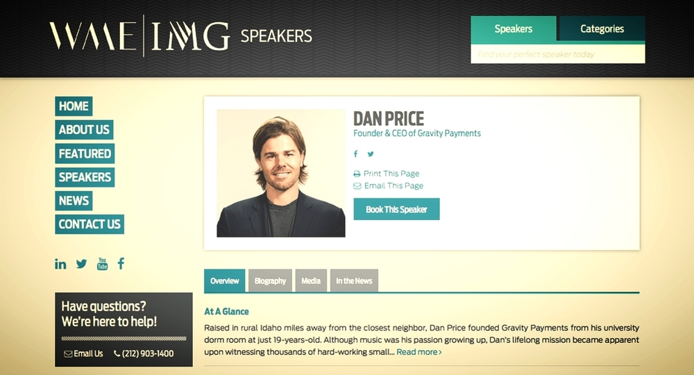 Price's WME client page