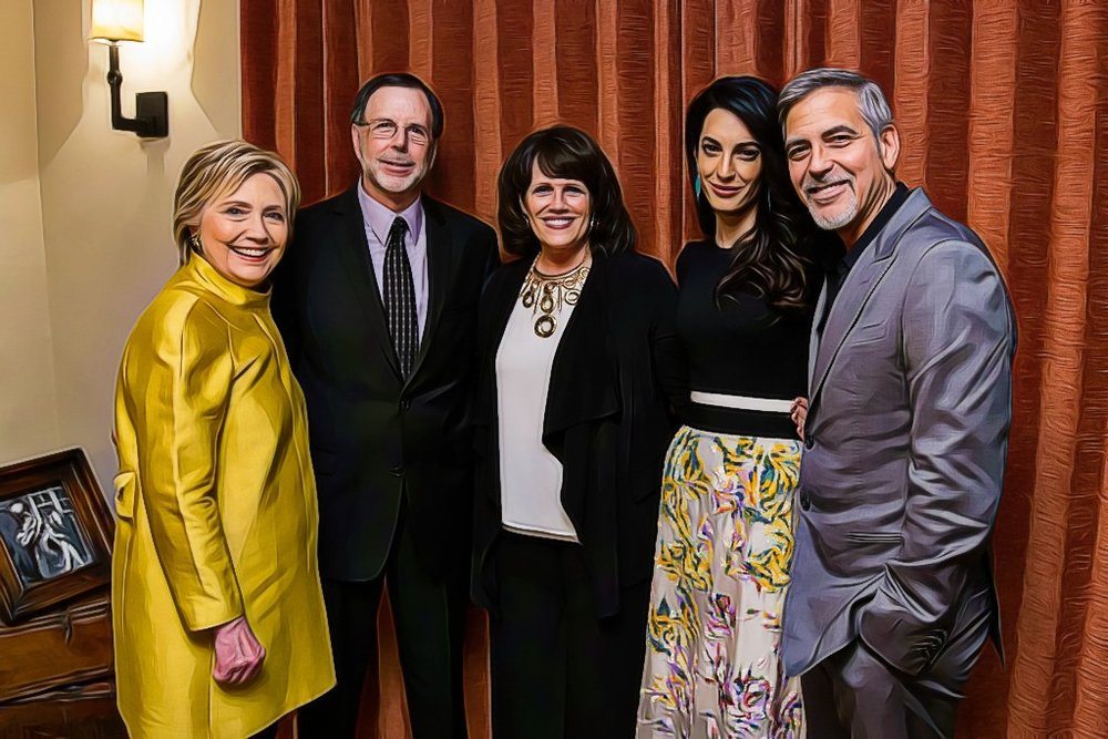 Clinton, the Clooneys and contest winners.