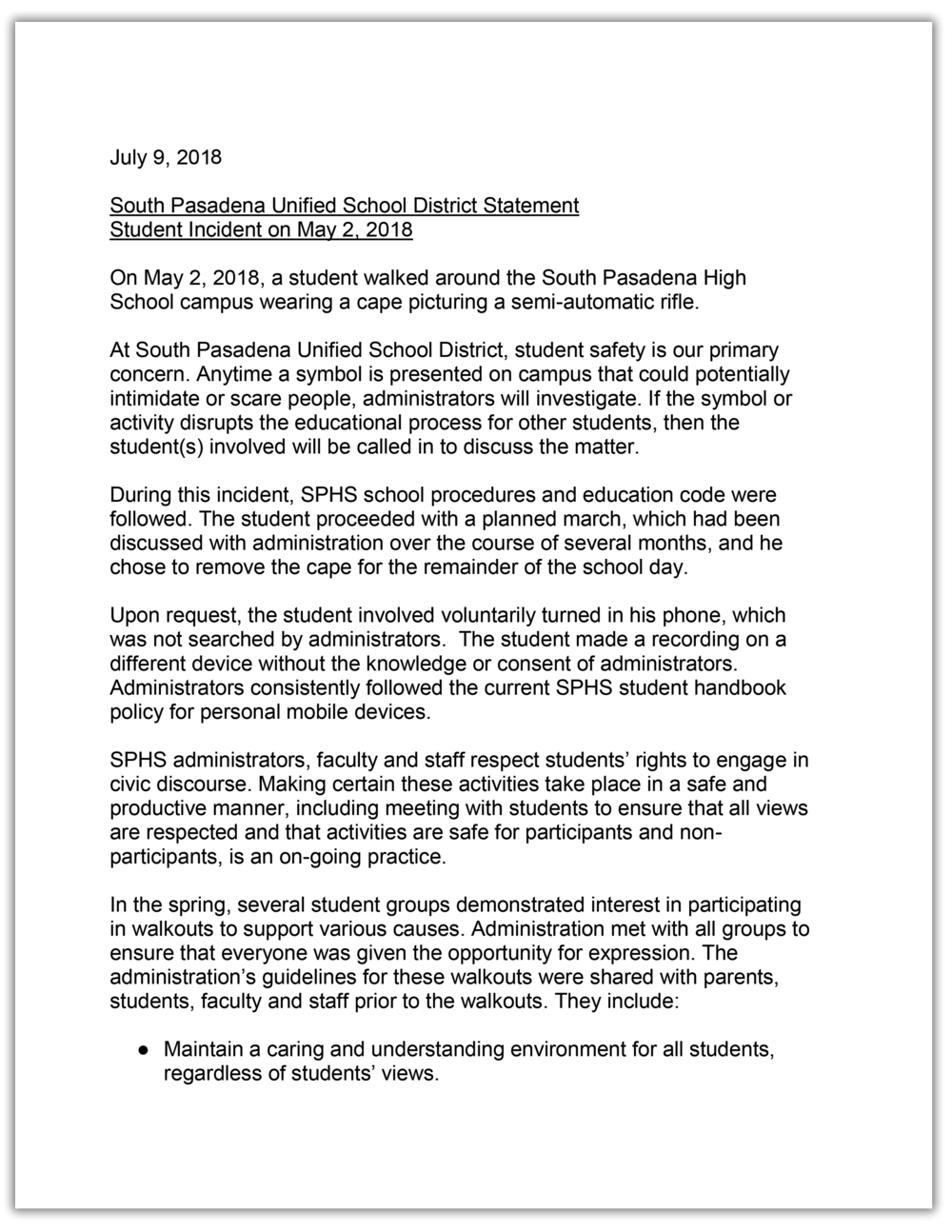 CLICK TO READ ENTIRE DOCUMENT Response from school superintendent Geoff Yantz
