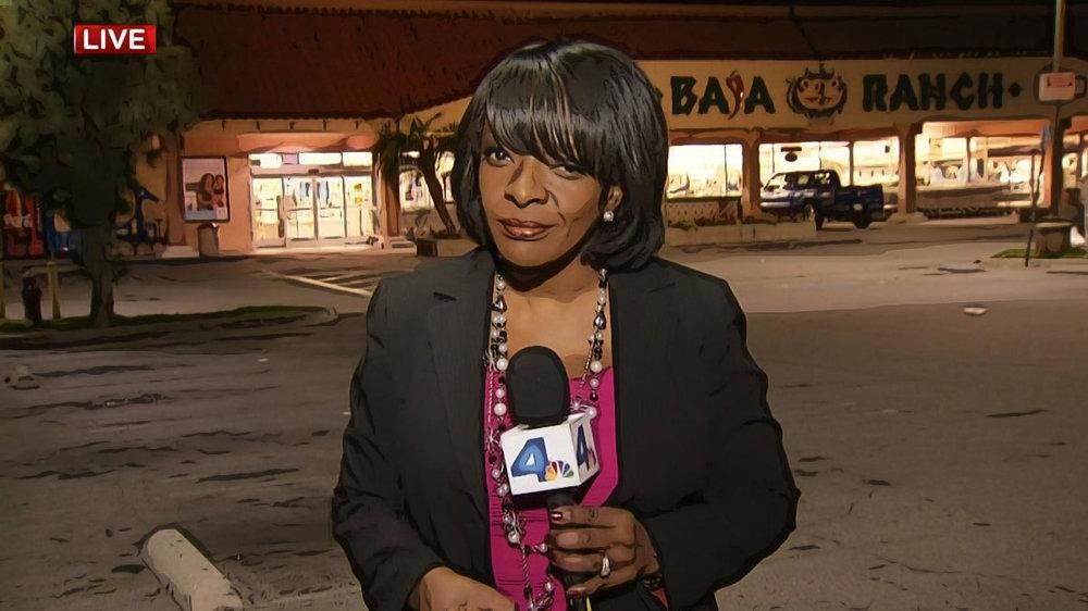 NBC4 Los Angeles reporter Beverly White (Photo / NBC4, illustration Doug Forbes)