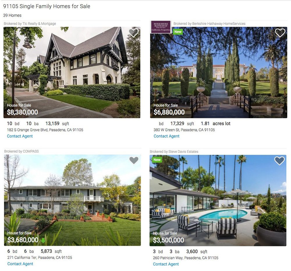 A small sampling of Pasadena's high-end real estate market (Realtor.com)
