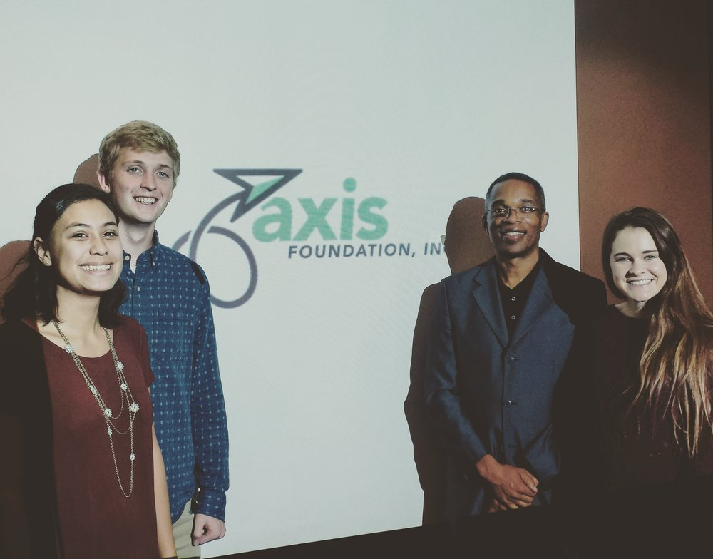 Cordell Thomas of Axis Foundation and graphic designers from Cal Baptist University.