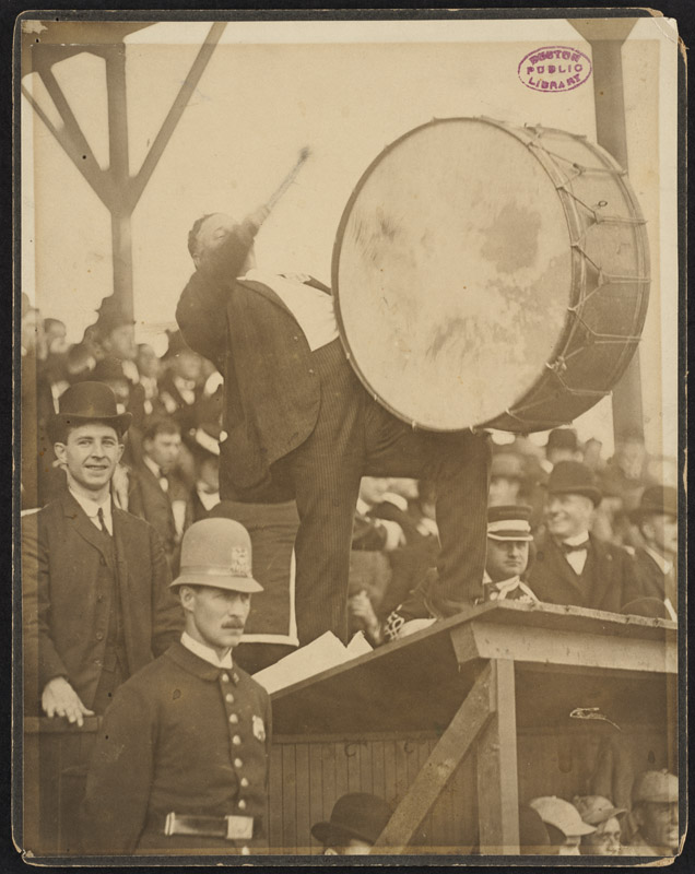 Royal Rooter beating a drum, 1903 World Series