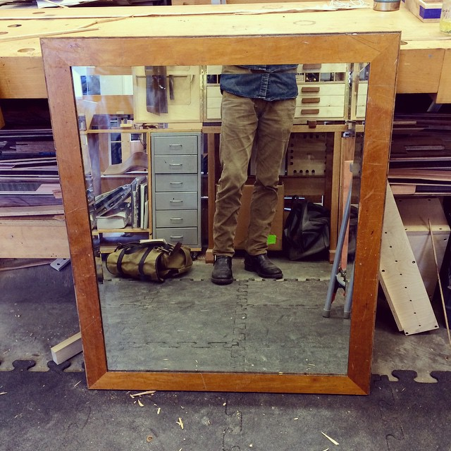 Today I made a quick frame for a mirror I rescued. It's made from reclaimed flooring from a local high school. #reclaimed