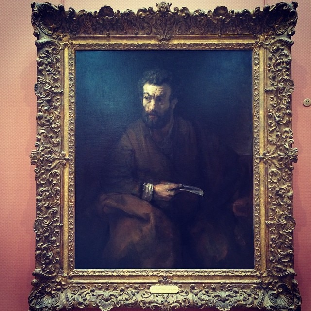 An honest to goodness Rembrant right here in San Diego. It has to be a great painting in order to live up to that frame. #timken #oldmaster #rembrant (at Timken Museum of Art)