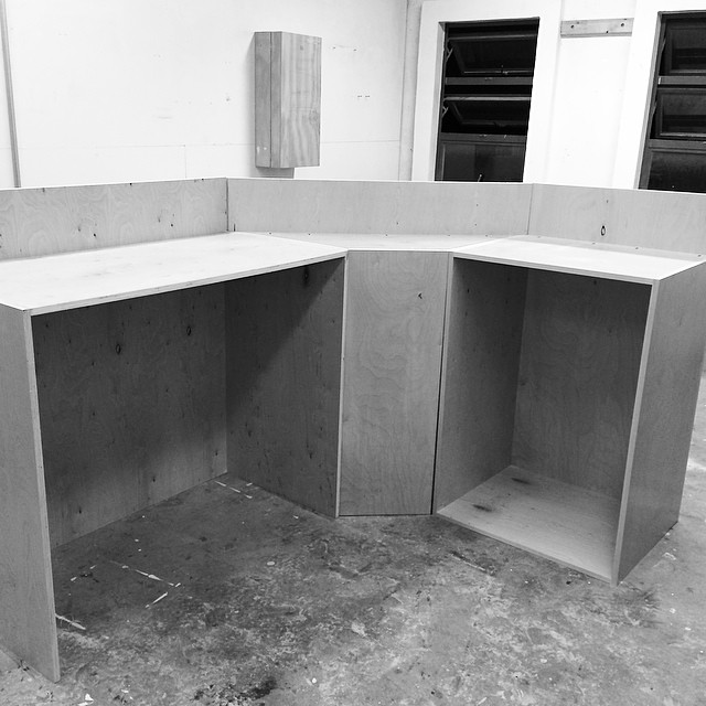 My latest commission: a gallery desk. The boxes are built now time for the shelves, countertop, and front surface treatment.
