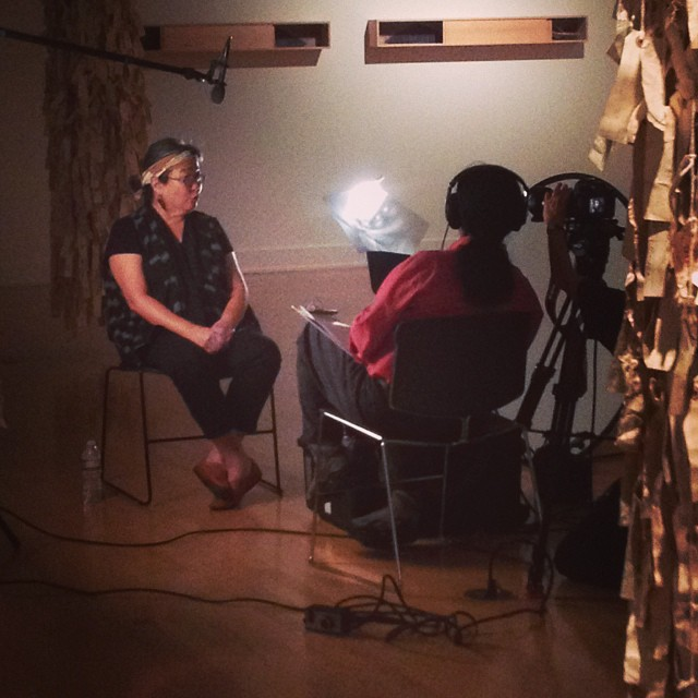 Went to check out Wendy Maruyama's tag project and found her giving an interview.  (at ASU Art Museum)