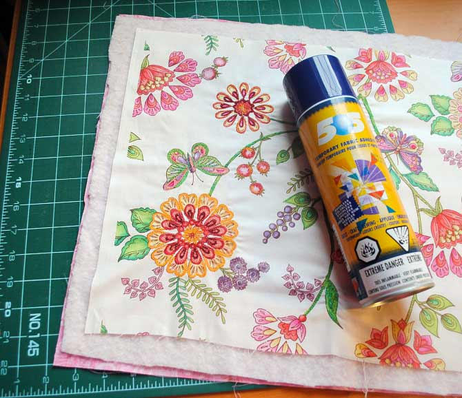 Fuse the layers of the quilt sandwich together with 505 Spray
