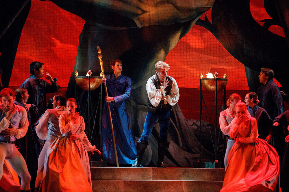 Bradley Christensen as the High Priest and Colin Ainsworth as Idomeneo Photo: Bruce Zinger