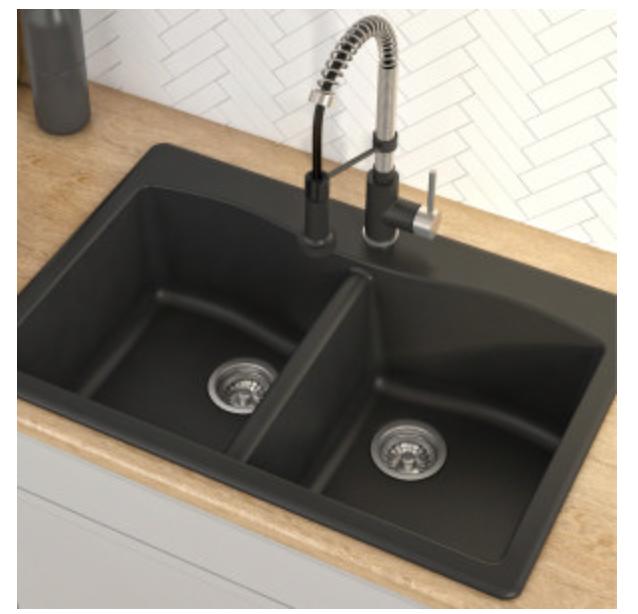 "Kraus Forteza 33"" Double Basin Dual Mount Kitchen Sink, $275.95"