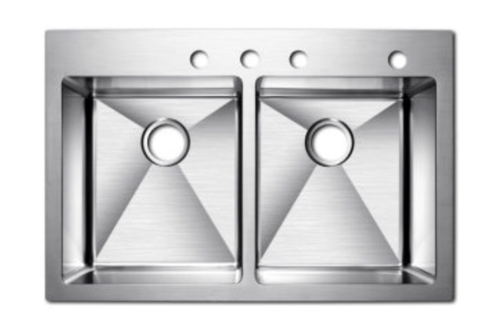 "Azhara Culinary 33"" Double Basin Dual Mount Kitchen Sink, $515.97"