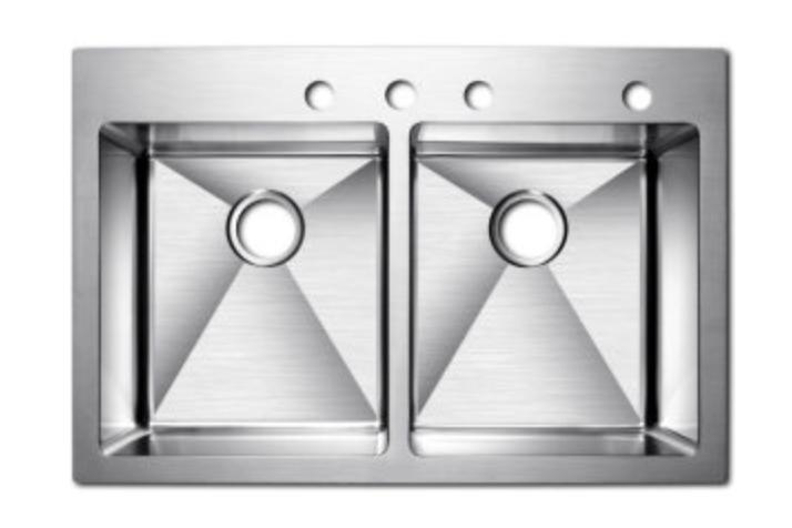 "Azhara Culinary 33"" Double Basin Dual Mount Kitchen Sink, $515.97"