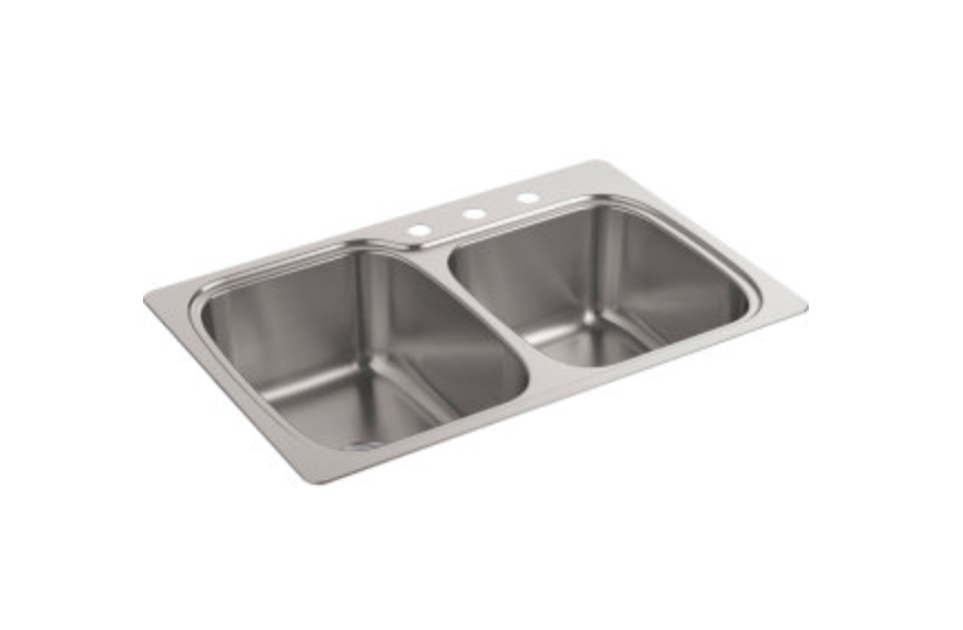 "Kohler Verse 33"" Double Basin Dual Mount Kitchen Sink, $224.25"