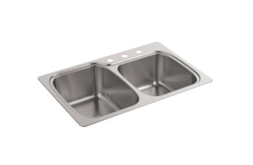 "Kohler Verse 33"" Double Basin Dual Mount Kitchen Sink, $224.25"