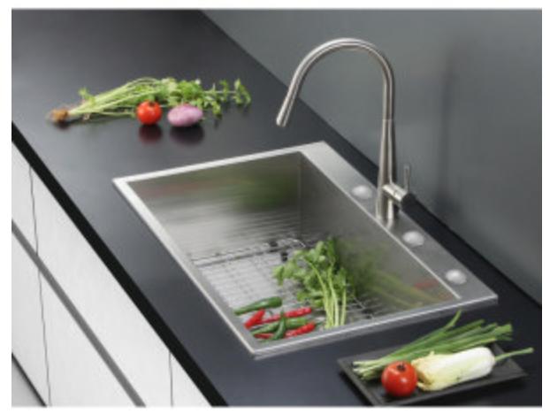 "Ruvati Tirana 33"" Single Basin Drop-In Kitchen Sink, $299.00"