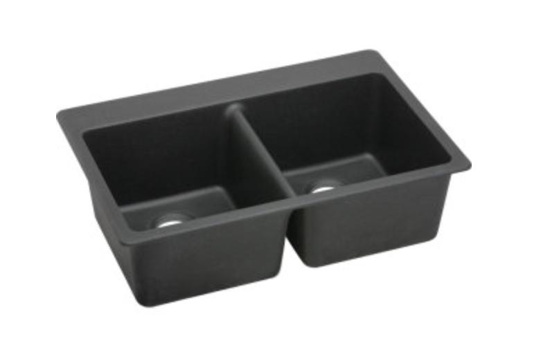 "Elkay Quartz Classic 33"" Double Basin Drop-In Kitchen Sink 5 Faucet Holes, $339.00"