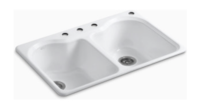 "Kohler Hartland 33"" Double Basin Drop-In Kitchen Sink"