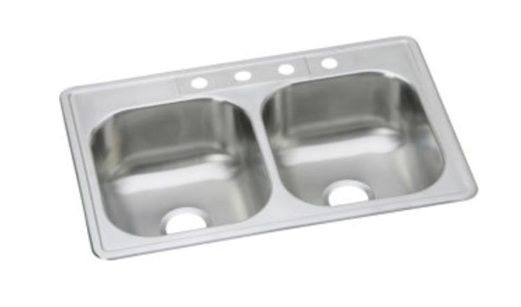 """Elkay Dayton 33"""" Double Basin Drop-In Kitchen Sink 4 Faucet Holes, $180.00"""