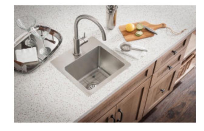 "Elkay Crosstown 15"" Single Basin Dual Mount Bar/Prep Sink Combo 1 Faucet Hole, $269.40"