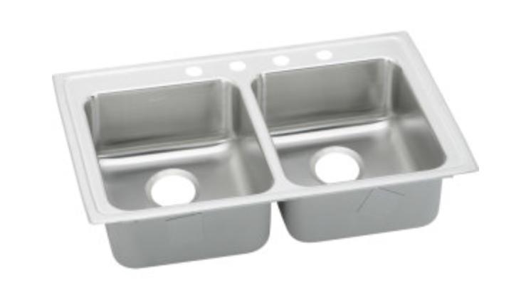 "Elkay Lustertone 33"" Double Basin Drop-In Kitchen Sink 3 Faucet Holes"