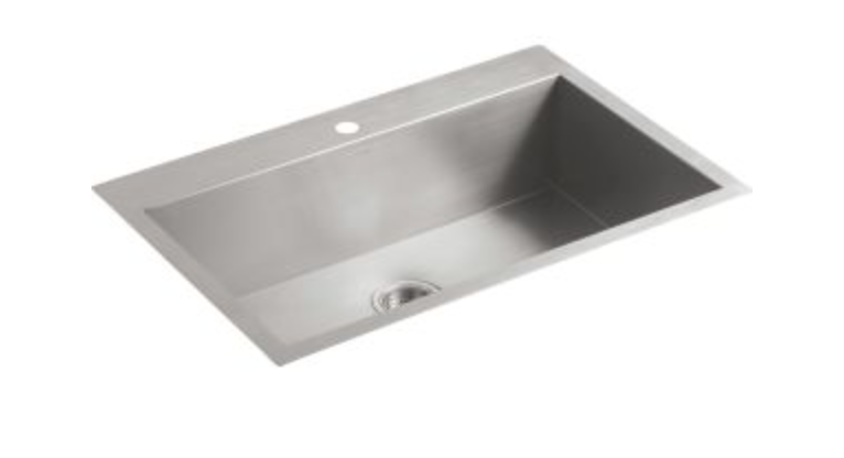 "Kohler Vault 33"" Single Basin Dual Mount Kitchen Sink"