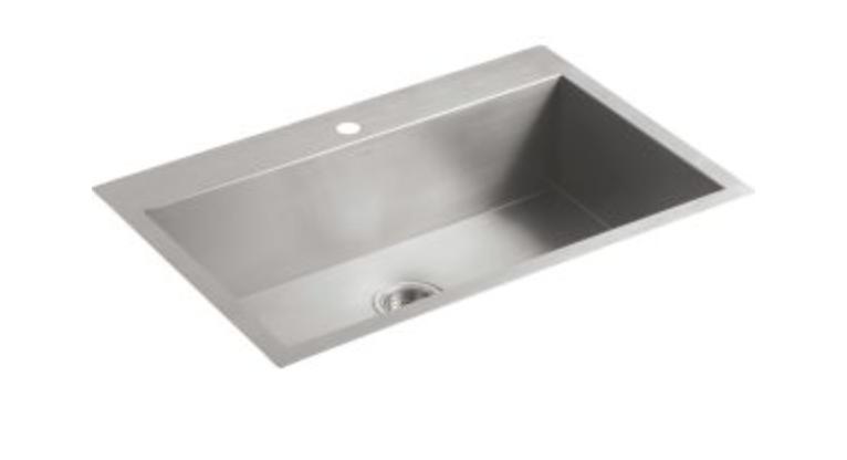 "Kohler Vault 33"" Single Basin Dual Mount Kitchen Sink"